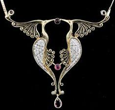 "Erte 14k gold diamond and ruby set ""Bird of Paradise"""