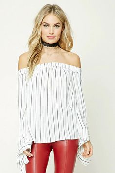 Forever 21 Contemporary - A semi-sheer woven top featuring a vertical stripe pattern, off-the-shoulder design, elasticized neckline, long self-tie sleeves, and a billowy silhouette.