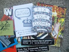 In the $20 Sew Your Own superpack! you get two issues of the indie fashion mag Worn, a copy of Raleigh's Fix Your Clothes, the Hey, Look! It's a Zine About Cross Stitch! zine, 10 miscut patches (to help fix your clothes), a Corporate Fashion Has No Passion Sew It Yourself pin/badge/button, and the Fuck Your Corporate Fashion Designers sticker! Now you have no excuse to throw away old, torn, or overused clothes. Make it last! Sew your own…