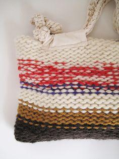 Finger Crochet, Finger Knitting, Easy Knitting, Knit Crochet, Knitted Bags, Knit Bag, Knitwear Fashion, Waxed Canvas, Handmade Bags