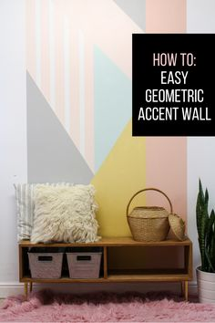 How to create an easy DIY geometric accent wall. The tutorial is very easy to follow and I love the pop of color!