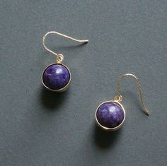 Gold Purple Charoite Earrings Contemporary by HiBackyardRose