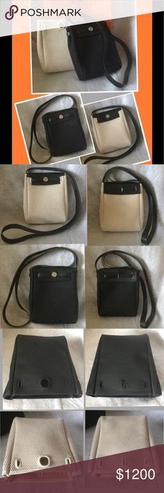 Hermes Her TPM 2 in 1 Black Beige Crossbody Bag Pristine. Mix n Match. You can also buy addtl color like Red or Orange. The black leather base goes good with anything. Hermes Bags Crossbody Bags