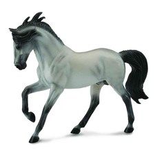 The Andalusian is also known as the Pure Spanish Horse and CollectA's Andalusian Stallion Bay is purely beautiful. The stallion is lifelike in every detail, from the individual hairs in its long mane and tail to the color of its hooves. Historically, Andalusians were used in warfare and were prized by the nobility throughout Europe. Andalusians are athletic and have been used in show jumping and dressage. They are also known for their use in mounted bull fighting. CollectA horses are created…