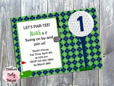 Golf Themed Birthday Party - Golf Themed Invitation - Miniature Golf Party - Boy - Golf First Birthday Invitation - Printable or Printed by CreativePartyDesigns on Etsy - $15.00 - Save 30% today by entering Coupon Code PIN30 at Checkout!