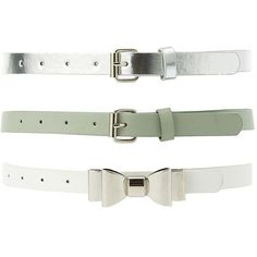 Charlotte Russe Belts - 3 Pack ($13) ❤ liked on Polyvore featuring accessories, belts, olive combo, buckle belt, metal bow belt, metal belt, metallic belts and charlotte russe