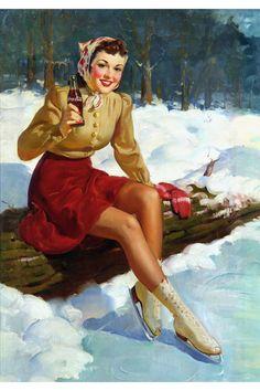 Coca Cola Ad - Illustration by Haddon Hubbard Sundblom Vintage Coca Cola, Coca Cola Poster, Coca Cola Ad, Pepsi, Vintage Advertisements, Vintage Ads, Pin Up Kunst, Pub Coca, Coke Ad