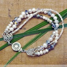 Pearl & Crystal Bracelet - elegant multi-strand bracelet with freshwater pearls and faceted crystal beads.