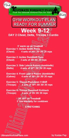 3 Month Women Workout Plan Week 9-12 Day 2: Chest, Shoulders, Triceps and cardio. FREE Printable workout template to have it always with you!!! #fitness #printableworkout #gymworkout #ultimateworkoutplans #kostaspap