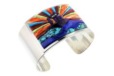 Turquoise, Spiny Oyster Shell, Lapis, Sugilite, and Gaspeite Inlaid Sterling Silver Bracelet. This is such an amazing piece! http://stagecoachgifts.biz/products/turquoise-spiny-oyster-shell-lapis-sugilite-and-gaspeite-inlaid-sterling-silver-bracelet