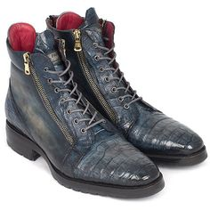 Paul Parkman Navy Genuine Crocodile & Calfskin Side Zipper Boots (ID#4 – PAUL PARKMAN ® Handmade Shoes featuring and polyvore,