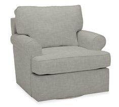 Buchanan Roll Arm Upholstered Swivel Armchair | Pottery Barn