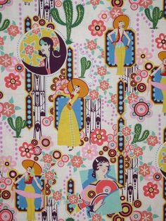 Retro Deco Style Ranchera Print Pure Cotton by fabricsandtrimmings