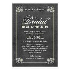 Bridal Shower Invitations | Vintage Chalkboard