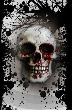 Bloody skull with black tree and paint splatters. Skull Face, Human Skull, Badass Skulls, Totenkopf Tattoos, Skull Island, Skulls And Roses, Grim Reaper, Sculpture, Dark Art
