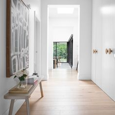 aesthetic Such a free flowing, light filled space with our White Smoked floorboards to com. Such a free flowing, light filled space with our White Smoked floorboards to compliment the soft aesthetic of the house. Beautiful Houses Interior, Beautiful Homes, Home Design, Royal Oak Floors, Hallway Cupboards, Interior Styling, Interior Design, Entry Hallway, Hallway Art