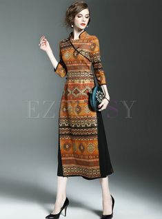Shop Vintage Stand Collar Print Three Quarters Sleeve Slim Maxi Dress at EZPOPSY. Maxi Outfits, Summer Dress Outfits, Maxi Dresses, Tutu Skirts, Emo Outfits, Party Dresses, Wedding Dresses, Trendy Dresses, Nice Dresses
