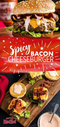 Now you have it — the best way to give your cheeseburger a hot 'n spicy upgrade this summer. Frank's RedHot Original Cayenne Pepper Sauce and crispy bacon. Burger Recipes, Grilling Recipes, Beef Recipes, Cooking Recipes, Gourmet Burgers, My Burger, Good Burger, Great Recipes, Dinner Recipes