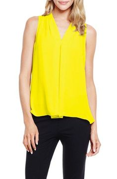 Vince Camuto Pleat Front V-Neck Blouse (Regular & Petite) available at #Nordstrom