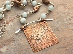 example of etched dragonfly pendant