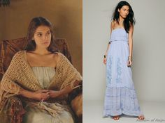 """In the episode 2x13 (""""Sins of the Past"""") Lady Kenna wears this sold out Candela Maddie Embroidered Silk Maxi Dress."""