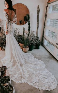 Lace Wedding Dress With Sleeves, Cute Wedding Dress, Long Wedding Dresses, Backless Lace Wedding Dress, Lace Wedding Gowns, Wedding Dress Long Train, Tattoo Wedding Dress, Fitted Wedding Gown, Popular Wedding Dresses