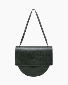 MM6 BY MAISON MARTIN MARGIELA | Front Flap Circle Bag | Shop at La Garçonne Pebbled Leather, Leather Bag, Black Leather, Leather Design, Luxury Bags, Beautiful Bags, Fashion Bags, Leather Shoulder Bag, Shopping Bag