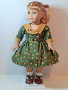 From 2016 - era double-breasted dress made from pattern pieces developed by Anna's Girls inspired by a vintage pattern. Sewing Doll Clothes, Girl Doll Clothes, Doll Clothes Patterns, Girl Dolls, Ag Dolls, Doll Patterns, Fall Dresses, Fall Outfits, Baby Dress Design