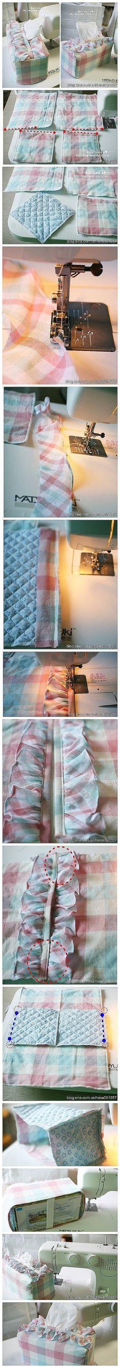 小清新纸巾套的教程,清新又可爱的颜色。【桑】