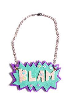 BLAM Comic Book Felt Necklace by Karakoncolos on Etsy, $12.50