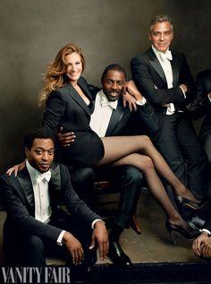 Annie Liebovitz for Vanity Fair, The 2014 Hollywood Issue: Chiwetel Ejiofor, Julia Roberts, Idris Elba & George Clooney