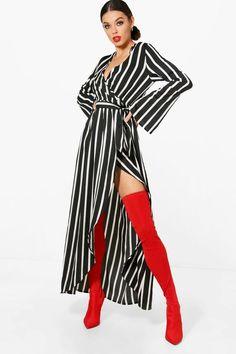 June Wide Sleeve Wrap Front Tie Stripe Maxi Dress