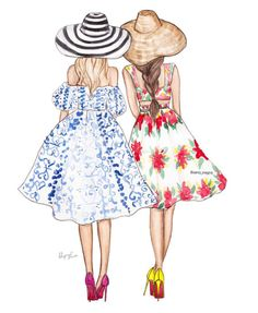 Summer Glamour FashionIllustrations ksenia onegina Be Inspirational Mz Manerz Being well dressed is a beautiful form of confidence happineSummer G… – Best Friends Forever Best Friend Drawings, Girly Drawings, Bff Pics, Best Friend Pictures, Bff Pictures, Friends Sketch, Mode Kawaii, Fashion Art, Fashion Design