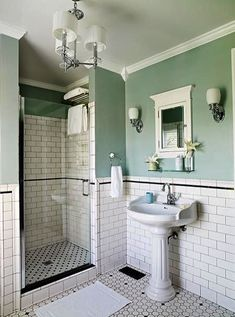 Young Couple Tackles a Forgotten Italianate Hard to believe, but this elegant bath is a remodel crafted from basics sourced from a local home center.Hard to believe, but this elegant bath is a remodel crafted from basics sourced from a local home center. Upstairs Bathrooms, Vintage Bathrooms, Modern Bathroom, Master Bathroom, 1950s Bathroom, Bathroom Green, Luxury Bathrooms, Industrial Bathroom, Small Bathrooms