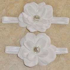Custom White flower on elastic headbands!