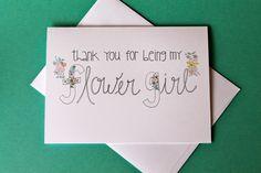 Hand Drawn Flower Girl Thank You Card. $4.00, via Etsy.
