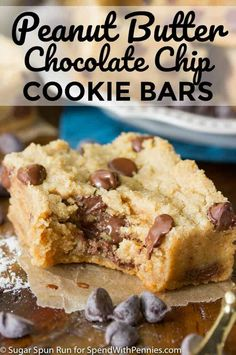 Soft and chewy peanut butter chocolate chip cookie bars!
