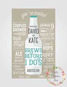 Brews Before I Do's // Couples Shower Invitation by EmilysInvitationShop on Etsy https://www.etsy.com/listing/257509077/brews-before-i-dos-couples-shower