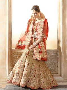 Red Raw Silk Lehenga Choli with Embroidery Work