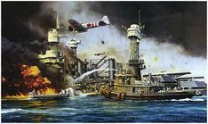 Pearl Harbor Attack 'Morning Thunder' by Robert Taylor captures the second wave of the attack depicting crewman aboard Hoga rendering aid to USS West Virginia [ART] × Remember Pearl Harbor, Pearl Harbor Attack, Aviation Art, We Remember, Military Art, West Virginia, World War Ii, Thunder, Sailing Ships