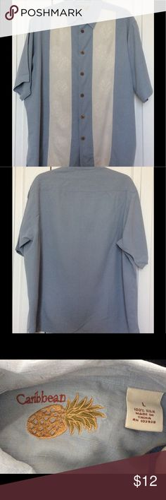 MEN CASUAL SHIRT 100% SILK SIZE L EXCELLENT Condition Caribbean Shirts Casual Button Down Shirts