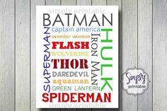Superhero Boys Wall Print for Bedroom by simplyprintable on Etsy Superhero Room, Man Room, Kids Bedroom, Bedroom Ideas, Art Wall Kids, Wall Prints, Decoration, Boys, Silhouette Images
