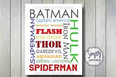 Hey, I found this really awesome Etsy listing at https://www.etsy.com/listing/164690927/superhero-boys-wall-print-for-bedroom