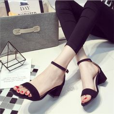 2017 Summer New High Heels Buckle Thick With woman's Sandals Summer Package With Sexy Square heels Thin open-toed Shoes  .LD-528