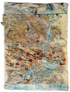 Earth by Kiki Smith, 2011, ink, crayon, watercolor, gold and silver leaf, glitter and pencil on paper, 108 x 72.