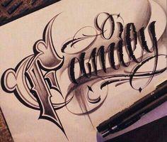 Chicano Lettering More good idea Tattoo Lettering Styles, Chicano Lettering, Tattoo Lettering Fonts, Tattoo Script, Graffiti Lettering, Hand Lettering, Wörter Tattoos, Chicano Tattoos, Word Tattoos