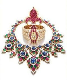 The fantastic Bvlgari necklace made for the late Princess Soraya (far right) by the Shah of Iran. The colour combination and intricate details are epic for want of a better word – Bvlgari describes colour as 'the essence of jewellery'.