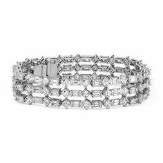 925 Sterling silver Cz Beautiful Round Baguette Art Deco Style Tennis Bracelet* #NikiGems #Bangle
