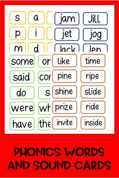 Over 1200 sounds and words - print, cut out and laminate. Preschool Phonics, Phonics Activities, Activities For Kids, Guided Reading Activities, Phonics Words, Kindergarten Teachers, Reading Skills, Reading Comprehension, Teacher Resources