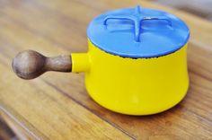 Dansk Kobenstyle IHQ Yellow Enamel Sauce Pot With Blue Lid, Made in France